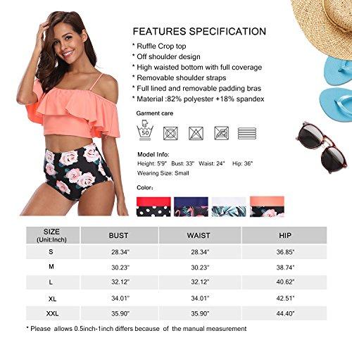 a5fa623c5c0 MarinaVida Women Off Shoulder Ruffle Swimsuit Crop Top Two Piece Bathing  Suit