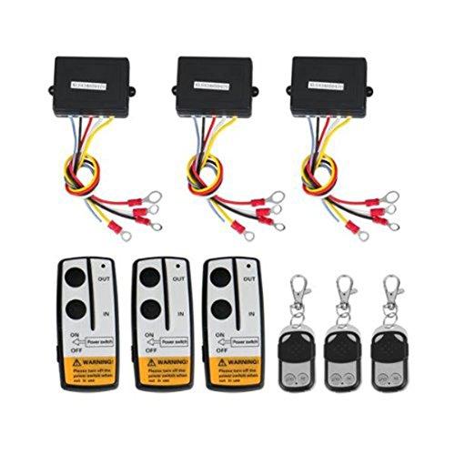 Wireless Winch Remote Control (3Pcs Wireless Winch Remote Control Kit For Truck Jeep Atv 12V Car Cordless Controller Suv)