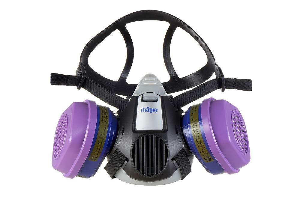 Dräger X-plore 3500 Half-Face Respirator Mask + 2x P100/Multi-Gas Combination Cartridge (OV/AG/HF/FM/CD/AM/MA/HS/P100), NIOSH-Certified, Reusable Professional Respiratory Protection Kit by Dräger