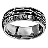 Stainless Steel Christian Mens 10mm Abstinence Crown of Thorns I Can Do All Things Through Christ Who Strengthens Me Philippians 4:13 Comfort Fit Chasity Ring for Boys - Guys Purity Ring