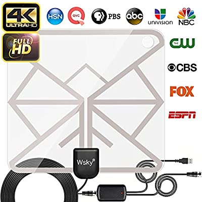 [Updated 2019 Version] Wsky HDTV Antenna - Best HD Digital Indoor TV Antenna 65-100 Mile Range Powerful Amplifier Signal Booster, Support 4K 1080p & Freeview All Older TV's - 16.5ft Longer Coax Cable