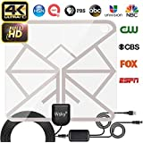 [2019 Latest] TV Antenna, Wsky HD Digital TV Antenna Long 65-100 Miles Range – Support 4K 1080p & All Older TV's Indoor Powerful HDTV Amplifier Signal Booster - 16.5ft Coax Cable/USB Power Adapter