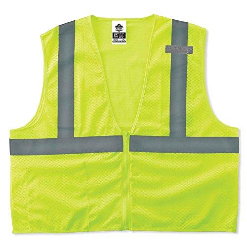 - Ergodyne GloWear 8210Z ANSI Economy High Visibility Lime Reflective Safety Vest, Zipper Closure, Large/X-Large