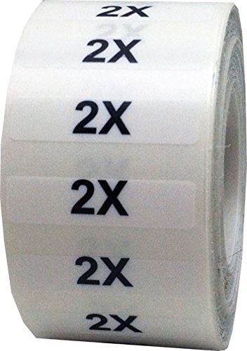 "1.25 x 5"" Apparel 2X Wrap Around Size Strip Labels for Folded Retail Clothing 