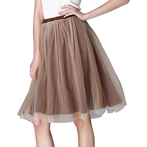 XinChangShangMao Women's Elastic High Waist Tulle Tutu Skirt Fashion Puff Mesh Layered Midi Skirts Champagne XL