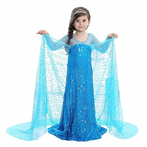 Girls Snow Queen Costume Sequined Elsa Princess Party Dress Blue ()