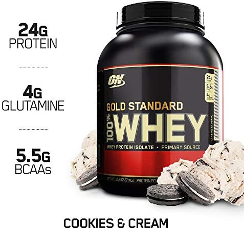 OPTIMUM NUTRITION GOLD STANDARD 100 Whey Protein Powder, Cookies and Cream, 80 Ounce