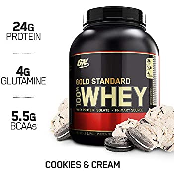 Optimum Nutrition Gold Standard 100% Whey Protein Powder, Cookies and Cream, 5 Pound