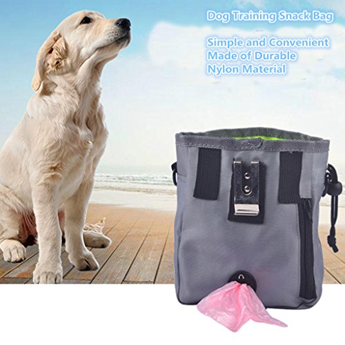 CIDEROS Dog Treat Pouch Bag for Carrying Treat, Toys, Food - with Built-In Poop Bag Dispenser, Waterproof, Adjustable Waist/Shoulder Strap - Gray -