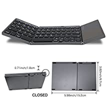 Ultra-Slim Folding Wireless Bluetooth Keyboard with Multi-touch Touchpad Bluetooth Keyboard for Samsung Tablet Smartphone,Android TV box,PC,Travel,Deep Gray WSTECHCO