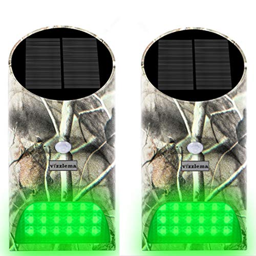 Vizzlema Feeder Hog Light Outdoor Solar Feeder Light for Hunting with Motion Sensor and Green Light for Game Animal Hunting (Pack of 2)
