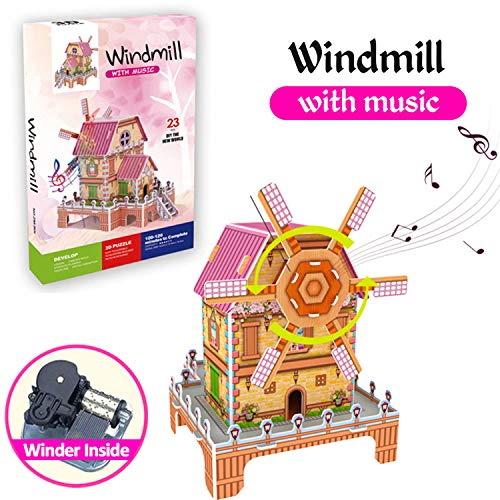 3D Jigsaw Puzzles Game for Kids Magic Windmill Music Box Dollhouse Castle Brain Teasers Model DIY Building Sets…