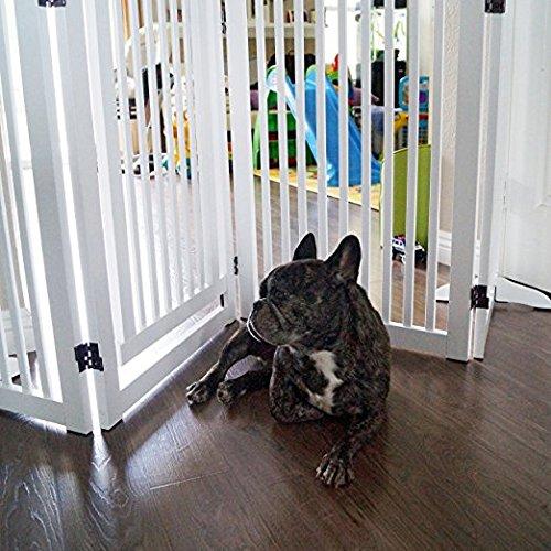 WELLAND Freestanding Wood Pet Gate w/ Walk Through Door, 88-Inch, White by WELLAND (Image #3)