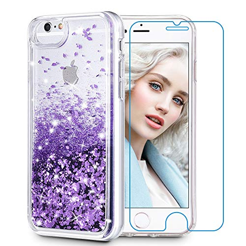Maxdara iPhone 8 Case, iPhone 7 Glitter Liquid Women Case [Tempered Glass Screen Protector] Floating Bling Sparkle Luxury Pretty Protective Girls Case iPhone 6/6s/7/8 4.7 inch (Purple)