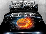 Luckey1 Basketball Print 3D Bedding Sets Full Size for Teen Boys,Cotton Duvet/Comforter Cover Bedding Sets Full 4 Pieces,1 Duvet Cover,1 Flat Sheet,2 Pillowcases (Full, Style-4)