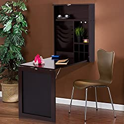 Tangkula Wall Mounted Table Fold Out Space Saver Wood Convertible Desk (Black)