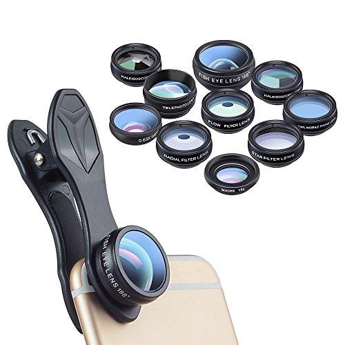 APEXEL 10 In 1 Phone Lens Kit 198 Degree Fisheye Lens +2x Telephoto Lens+ 0.63x Wide Lens & 15x Macro Lens +CPL lens + 2 Pcs Kaleidoscope Lens +3 Pcs Filters for iPhone Samsung and Andriod Smartphone