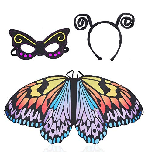 Beelittle Butterfly Wings Costume 3 Pieces Fancy Dress-Up Set Butterfly Wings Cape Shawl with Antenna Headband and Mask for Girls Kids (Rainbow) ()