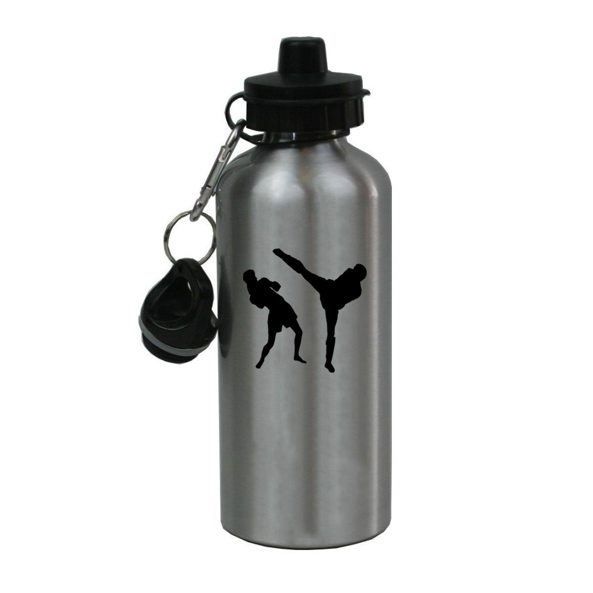 Personalized Custom Muay Thai Aluminum Silver Finish 20 Ounce Water Bottle Customizable by CustomGiftsNow