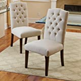 Clark Elegant Upholstered Dining Chairs w/ Button Tufted Backrest (Set of 2)