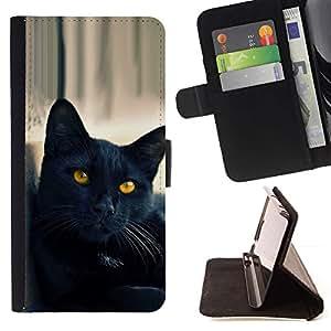 Momo Phone Case / Flip Funda de Cuero Case Cover - Gato Negro Amarillo Ojos Nebelung; - Apple Iphone 6