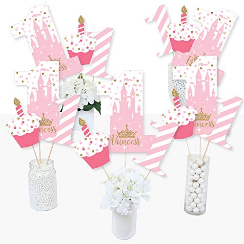 1st Birthday Little Princess Crown - Pink and Gold Princess First Birthday Party Centerpiece Sticks - Table Toppers - Set of 15
