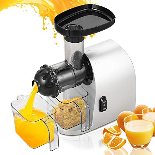 Utheing 200W Electric Slow Masticating Juicer Extractor Lowest Noise for Citrus Lemon Orange Tomato Fruit Vegetable with Cleaning Brush and Bigger Container