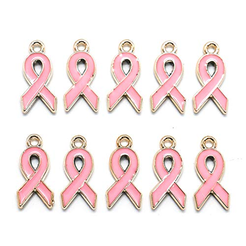 IDS Pack of 50 Pink Ribbon Pendants Breast Cancer Awareness Charms Beads Dangle Pendant accessories for Jewelry Making -