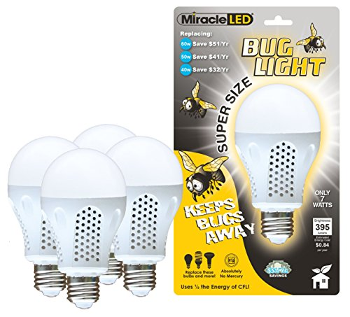 Miracle LED 604735 7 Watt Super Bug Light, Bug Free Porch and Patio Light, Yellow, 4-Pack