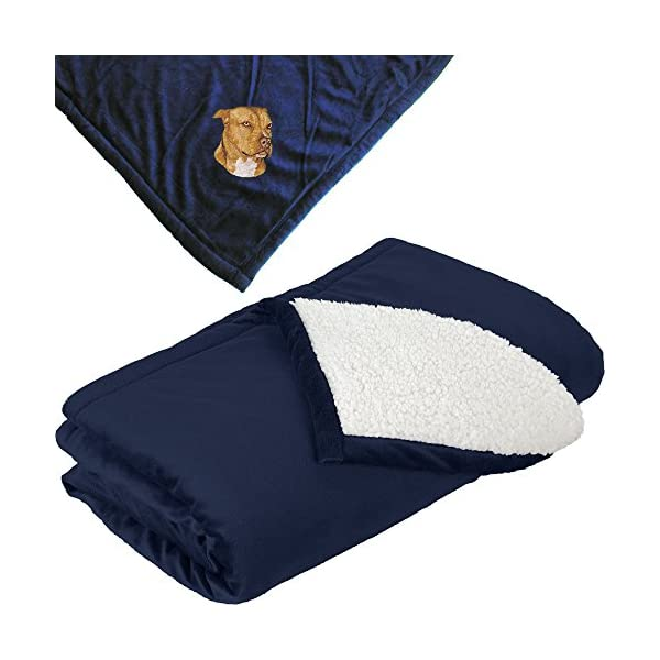 Cherrybrook Dog Breed Embroidered Mountain Lodge Reversible Blanket - Navy - American Staffordshire Terrier 1