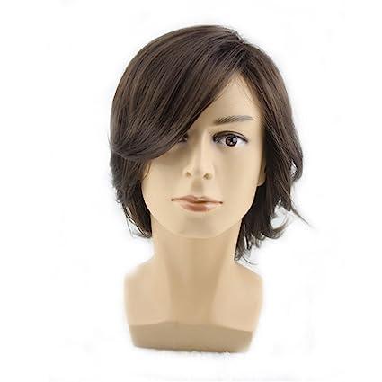 Peluca de pelo corto medio rizado con flequillo lateral para hombre cosplay fiesta peluca sintética de