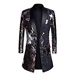 Shawl Lapel Double-Sided Sequins Long Suits
