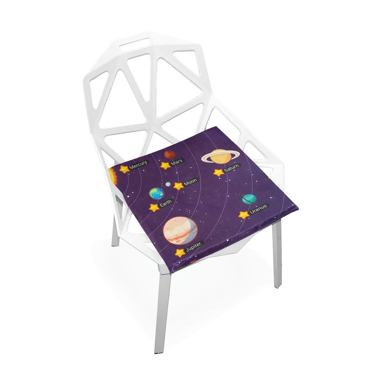 TSWEETHOME Comfort Memory Foam Square Chair Cushion Seat Cushion with Solar System All Planets Chair Pads for Floors Dining Office Chairs
