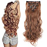#10: Lelinta 3-5 Days delivery 7Pcs 16 Clips 24 Inch Wavy Curly Full Head Clip In On Double Weft Hair Extensions