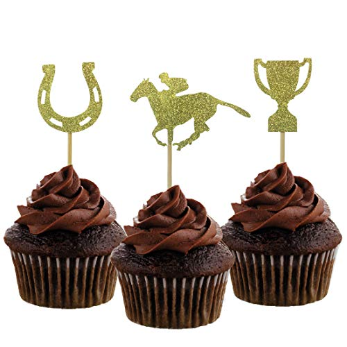 - Morndew 24 PCS Kentucky Derby Equestrian Horse and Golden Cup Cupcake Toppers for Theme Party Baby Shower Birthday Party Decorations