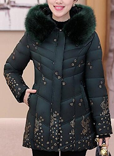 Long Down Elegant Womens Fur UK Green Bronzing Sleeve Print Collar today Jacket Faux YqFwTxAv4