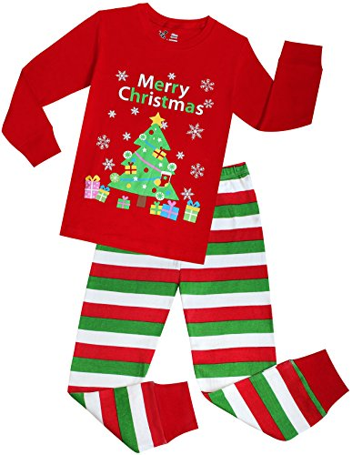 Boys and Girls Christmas Pajamas Children PJs Gift Set Kids Cotton Sleepwear Size 6 -