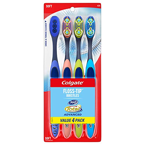 Deep Clean Toothbrush - Colgate 360° Total Advanced Floss-Tip Bristles Toothbrush, Soft - 4 Count