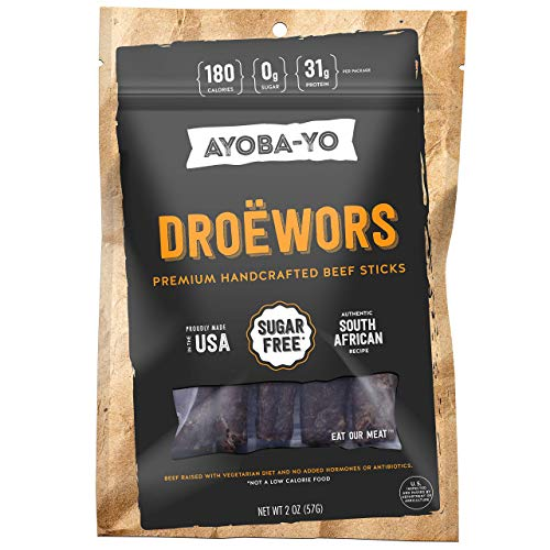 Ayoba-Yo Droewors. Grass Fed Beef Sticks. Keto Certified, Paleo Certified and Whole30 Friendly. High Protein Steak Cuts. Made with Premium Meat. Gluten and Nitrate Free, No Sugar. 2 Ounce