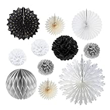 Black White Grey Tissue Paper Fans Pom Pom Flowers for Home Party Supplies Birthday Wedding Baby Shower Decoration 11 Pieces SUNBEAUTY