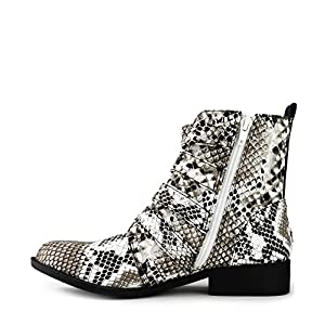 RF ROOM OF FASHION Women's Studded Buckled Strap Moto Ankle Boots | Trendy Low Stacked Heel Comfortable Booties - Black White Snake (10)