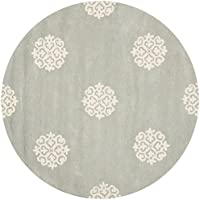 Safavieh Soho Collection SOH724C Handmade Grey and Ivory Premium Wool Round Area Rug (4 Diameter)