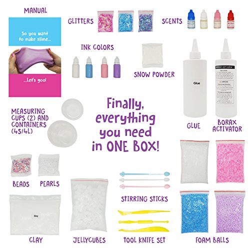51SWcxgM7NL - Original Stationery Unicorn Slime Kit Supplies Stuff for Girls Making Slime [Everything in One Box] Kids Can Make Unicorn, Glitter, Fluffy Cloud, Floam Putty, Pink