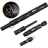 iRainy Fire Starter, Survival Glass Breaker, Magnesium SPARK Starter Emergency Survival Kit Camping Tool W Tactical Keychain, Compass and Whistle-Black