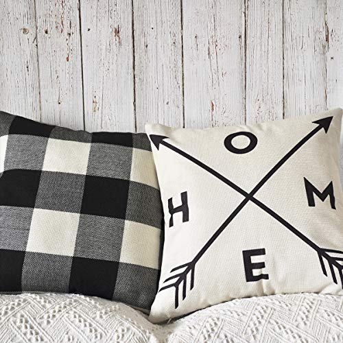 PANDICORN Set of 2 Modern Farmhouse Decorative Throw Pillows Covers, Rustic Linen Throw Pillow Cases with Inspirational Saying Home Arrow, Black and Cream Buffalo Check Pillowcases for Couch, 18 x 18 (Pillow Buffalo Check Black)