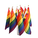 AerWo Rainbow - World Cup Outdoor Flag - 10pcs/Set Rainbow Flag 8' x 5' Inch Polyester Flag Gay Pride Lesbian Peace LGBT Flag with Grommets