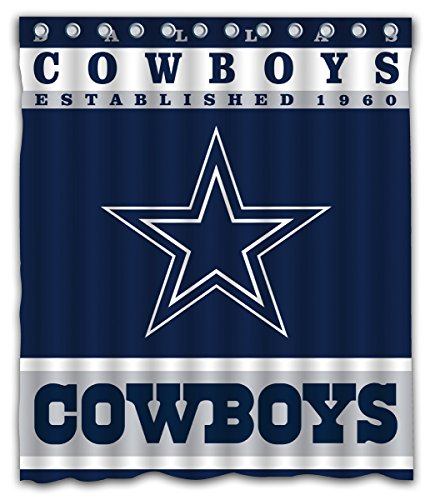 Sonaby Custom Dallas Cowboys Waterproof Fabric Shower Curtain for Bathroom Decoration (60x72 Inches) (Dallas Fabric Cowboys)