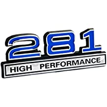 "281 4.6 Liter High Performance Engine Emblem in Chrome & Blue Trim - 4"" Long"
