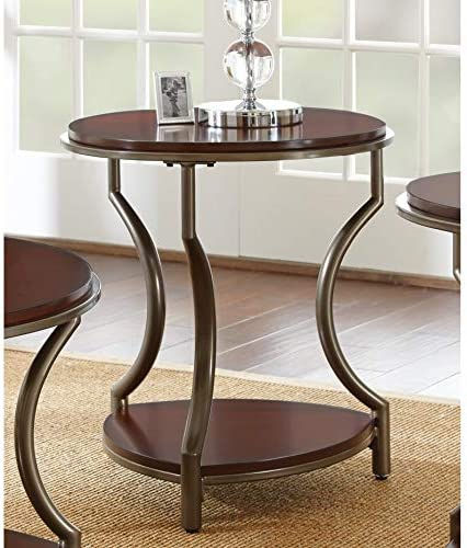 Greyson Living Morelia Round Wood and Metal End Table by