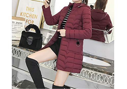 Imbottito Eleganti Donne Staccabile Media Aceto Color Puffer Lunghezza Formato Trapuntato Cappotto Cappuccio Più Fit Di Con Slim Piumino RqBdqw7Ax